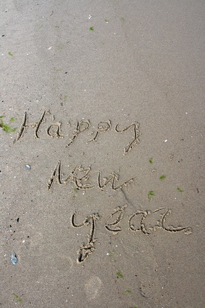 water s edge: Nuovo anno iscrizione in spiaggia tropicale Archivio Fotografico