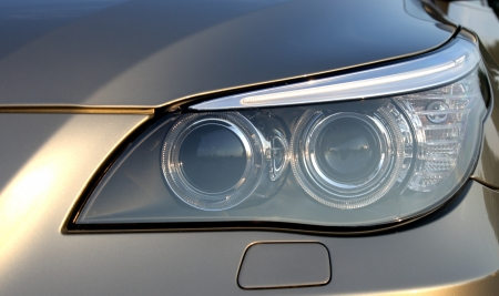 Headlight of the car of the BMW of the fifth series