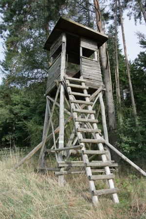 Tower of the hunter against wood in Germany