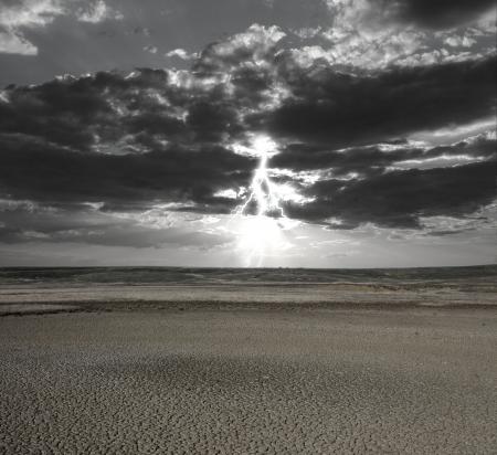 Flash of a lightning the sky in desert Stock Photo - 16023568