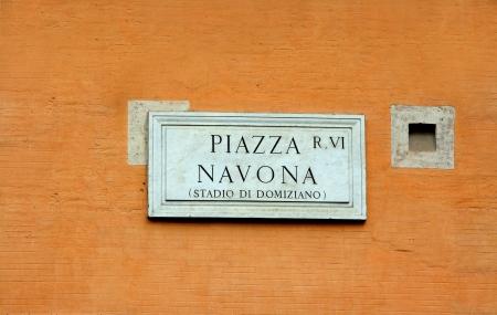 Die Gedenktafel f�r die Piazza Navona in Rom.
