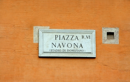navona: The stone plaque for Piazza Navona, Rome.