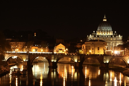 Kind of a cathedral of St  Peter from the bridge at night   Stock Photo
