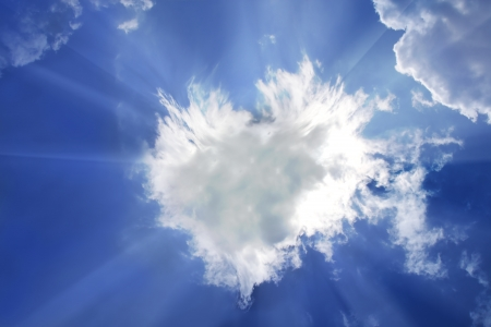 every: Clouds bathing in solar beams in the blue sky