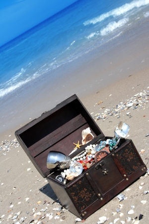 The lost chest with treasures on seacoast