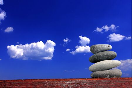 Spa stones against the blue sky photo