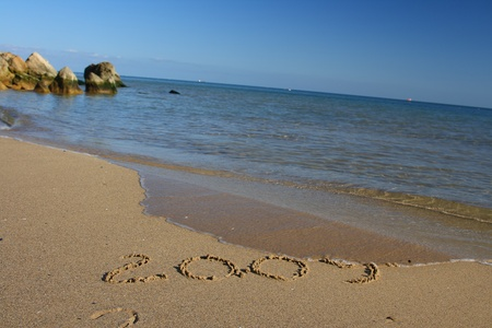 New year 2009 inscription at the tropical beach photo