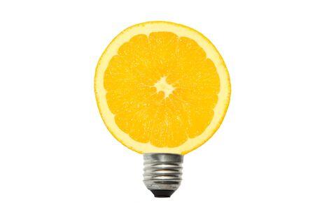 strom: light bulb and orange in white background