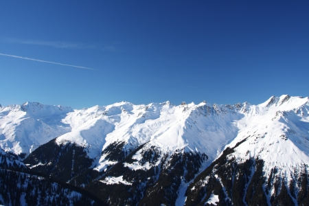 Ski resort in the Alpes in a valley of Montafon Standard-Bild