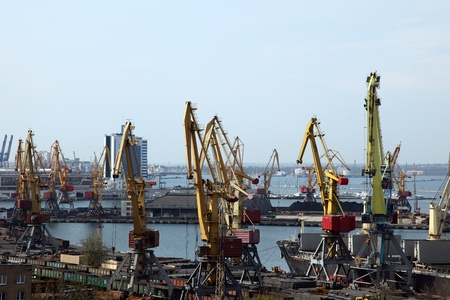 Loading and unloading of the goods in the Odessa port in Ukraine photo