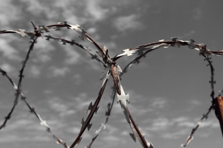 Barbed wire tense on a fence against the blue sky photo