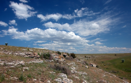 Wild steppe on cape Tarhankut in Crimea, Ukraine Stock Photo - 17231119