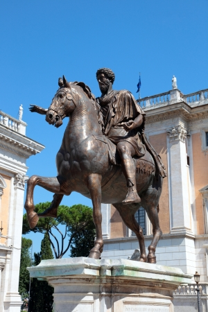 A bronze statue of Marcus Aurelius at the Piazza del Campidoglio outside of the Capitoline Museum in RomeA bronze statue of Marcus Aurelius at the Piazza del Campidoglio outside of the Capitoline Museum in Rome