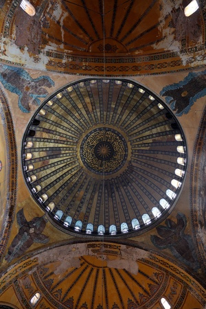 Dome of Hagia Sofia (Santa Sofia), also called Ayasofya, built as a cathedral by Justinian I in the sixth century and turned into a mosque during the Ottoman Period