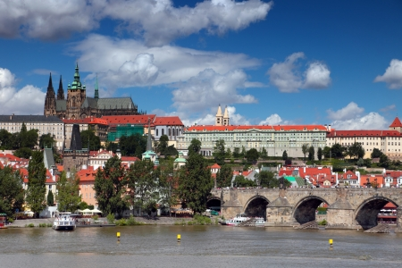View on the Prague Castle and the Charles Bridge in Prague, Czech Republic. Editorial