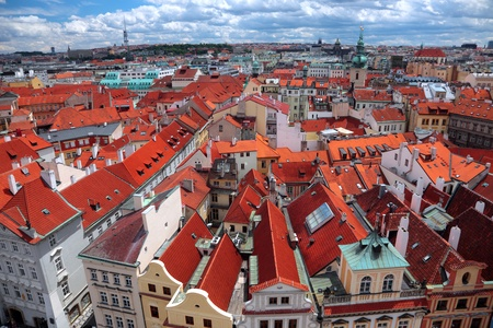 View of Prague from a tower balcony