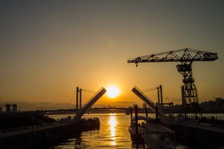 drawbridge: Toyosu drawbridge at dusk
