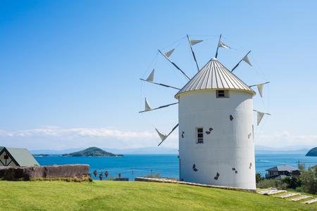 小豆島オリーブ公園ギリシャ風車 写真素材 - 51357881