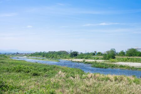 riverbed: Blue sky and Tama River riverbed Stock Photo