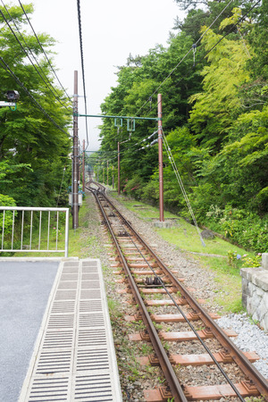 cable car: Track of the Hakone mountain climbing cable car