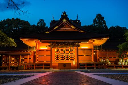 sengen: Night Fujisan Hongu Sengen Taisha Stock Photo