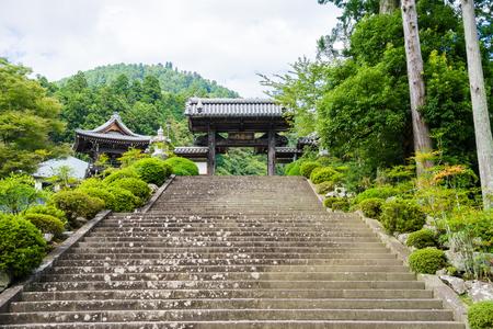 stone stairs: Kuonji Kanro-mon gate and stone stairs step Stock Photo