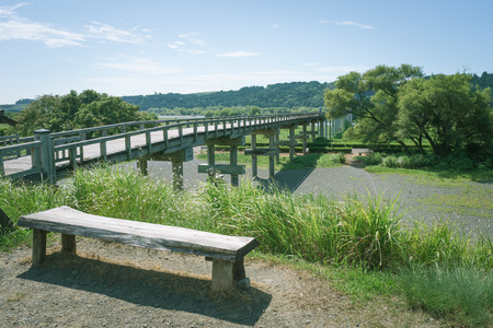 Scenery with bench and Horai Bridge