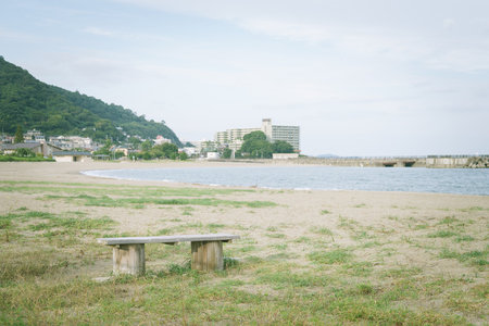 Scenery with bench and Nagahama Beach