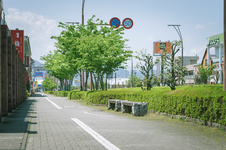 Scenery with bench  Fuji city area