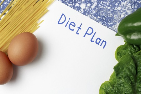 An Inscription Diet plan on white sheet, healthy food. View from above
