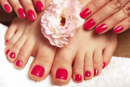 Roze manicure en pedicure met bloem close-up op een witte achtergrond, bovenaanzicht Stockfoto