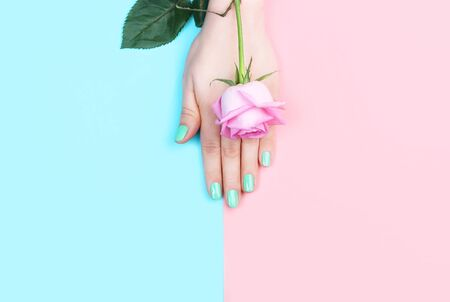 Female hand with manicure and flower on a pink, blue background, top view
