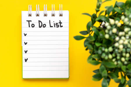To do list recorded in a notebook and a flower on a yellow background