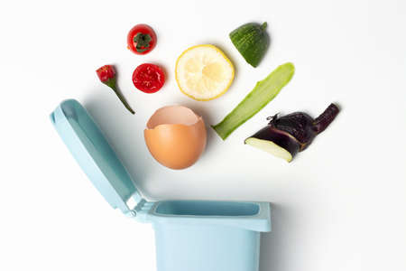 Organic waste and trash can on white background close-up Stock Photo