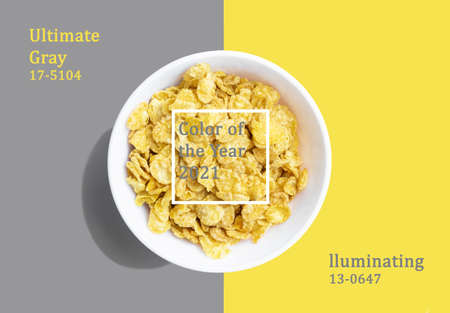 Plate with breakfast cereal on Illuminating and ultimate gray trending background 2021