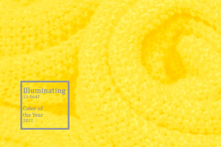 Woolen knitted surface trendy color of year 2021 Illuminating yellow.