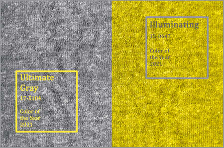 Knitted surface trendy color of year 2021 Illuminating yellow and ultimate gray.