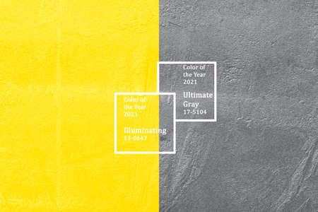 Concrete wall trendy color of year 2021 yellow and gray.