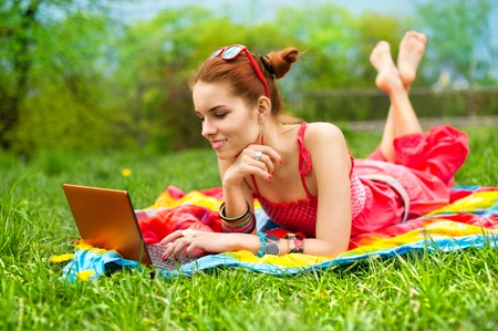 stunning: Beautiful woman with laptop