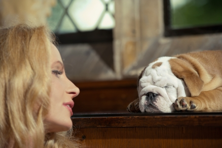 Blonde woman with an english bulldog puppy dog Stock Photo - 20573803