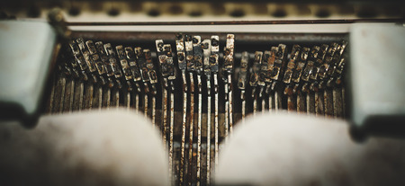 Abstract background with metal part and elements of retro typewriter,thai