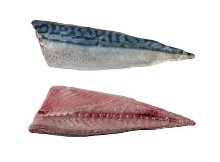 Fresh fish, raw cod fillets isolate background 写真素材