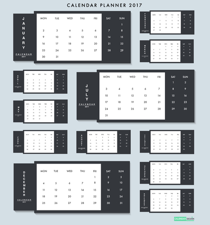 planner: Calendar Planner 2017. Vector Illustration Design