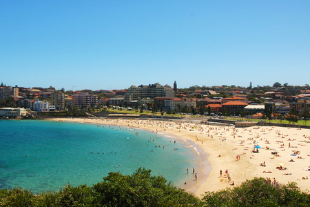 Blue sky and sea at Coogee Beach in Sydney, Australia.