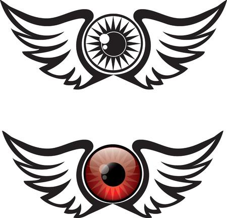 eagle flying: Winged Eye Illustration Illustration