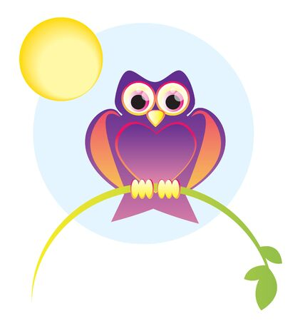 owl illustration: Illustration of a cute owl, with large eyes, sitting on a branch. Illustration