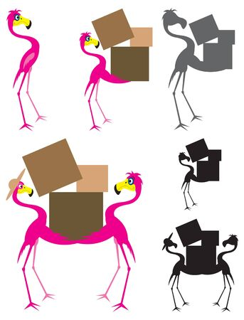 Flamingo Cartoon Moving Vector