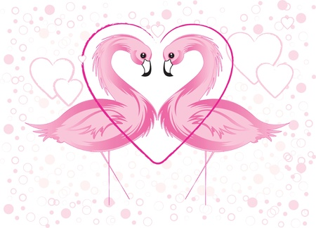 pink flamingo: Pink Flamingo and Hearts Illustration