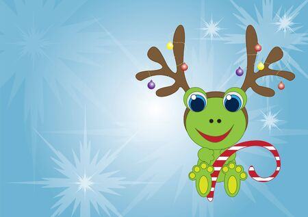Holiday frog with reindeer antlers Vector