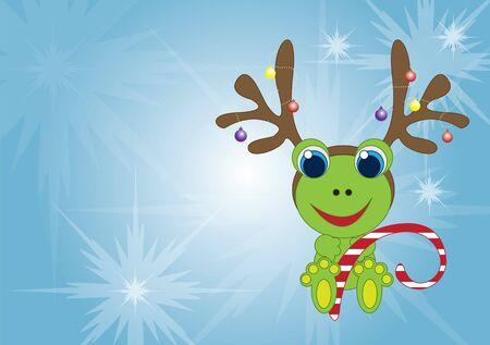 christmas frog: Holiday frog with reindeer antlers Illustration